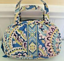 "Vera Bradley Blue/Purple ""Capri Blue"" Fabric Zip Top 2 Handle Cosmetic Bag"