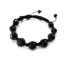Glass Stone Beads Bracelet.Mhb-48He New Men'S 12mm Black