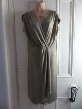 Lovely Per Una size 14 slinky metallic gold flecked sleeveless wrap style dress