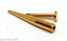 14G 1.6mm Gold Tone Chin Monroe Labret Very Long Cone Spike Taper Piercing