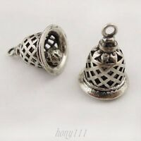 10pcs Vintage Silver Brass Hollow 3D Bell Pendant Charms Jewelry Findings 37673
