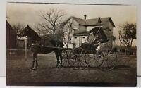RPPC Victorian Era Man Gets A Picture of his Horse & Buggy Ohio Postcard E19