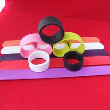 1Pc Plain Flexible Silicone Slap Wrap Wristband Bracelet Hand Ring Band Random