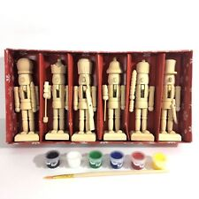 "5"" Mini Wooden Nutcrackers Paint Your Own Christmas Craft Kit Box Set of 6 DIY"