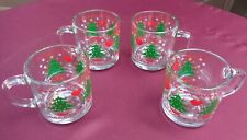 Anchor Hocking CHRISTMAS TREE & HEARTS Glass Mug 1984 CHD Vintage Set of 4