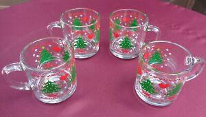 Vintage Anchor Hocking CHRISTMAS TREE & HEARTS Glass Mug 1984 CHD  Set of 4