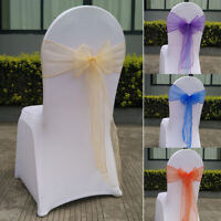 25Pcs Organza Chair Cover Band Bow Knot Sashes Wedding Banquet Chair Back Decor