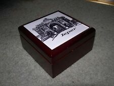 IEPER YPRES MENIN GATE WOODEN TRINKET JEWELLERY BOX ~ Porcelain Tile Picture