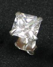 Ohrstecker VIERECK Zirkonia Kristall Silber 925 extra flach Silberohrstecker