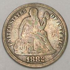 1882 Seated Liberty Dime 10 Cents Silver Coin