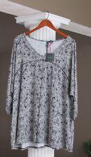 CYNTHIA ROWLEY Black & White V-Neck  3/4 Sleeve Tunic Top Size 3X NWT