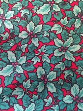 2 Yards Christmas Holiday Holly Beery Accent Cotton Fabric Tree Berry Poinsettia