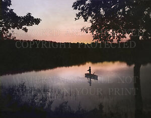 8x12 inch color photograph print: Boat fishing lake sunrise or sunset picture