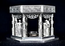 More details for wonderful solid silver octagon sided buddhist temple with monks & offering plate
