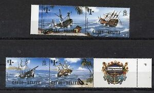 CAYES OF BELIZE  1985 SHIPWRECKS COMPLETE SET MNH PLUS LABEL MINT NEVER HINGED