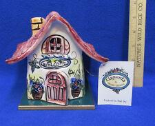 House Cottage Shaped Candle Holder Clayworks w/ Flameless Tea Light Ceramic Tile
