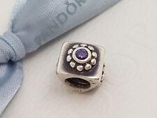 Authentic Pandora Charm Retired Square Purple Flower- 79170ACZ 790170ACZ