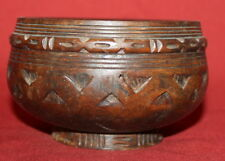 Antique Turned Hand Carved Wood Bowl
