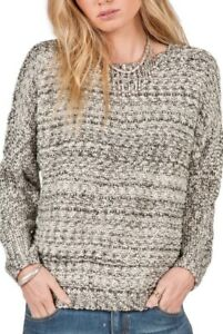NWT VOLCOM Women's Rested Heart Crew Sweater, Natural/Black, Large
