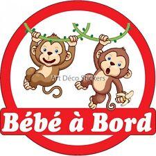 Sticker autocollant enfant Bébé à bord Singes réf 3575 3575