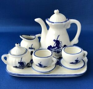 Delft Miniature Tea For Two Set Teapot Milk Sugar Cup/S Tray Flowers Windmill