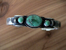 Auth. Native American IndianTurquoise/Sterling Cuff Bracelet by Martha Cayonito