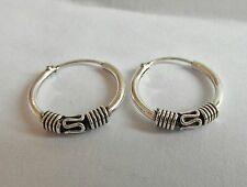 Pair Of Sterling Silver 925  Bali Hoop Earrings 1.2  x  10  mm !!       New !!