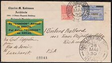 ZEPPELIN FLIGHT COVER FROM BRAZIL TO USA FLIGHT #59G MAY 24,1930 BQ4884
