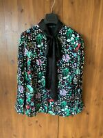 ROCHELLE HUMES VERY LONGLINE TUNIC SHIRT Black Floral Top Blouse UK 10 - BNWOT