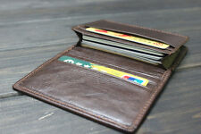 Real Leather Mens Credit Card Holder Wallet Brown Small Pocket with Photo Slot