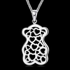 925Sterling Silver Jewelry Hollow Heart Bear Pendant Woman Necklace NB770