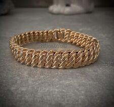 Bracelet Maille Gourmette Américaine Plaqué Or 18 Carats 750/1000 Bijoux Femme