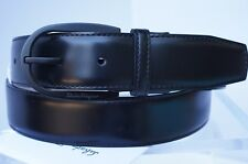 New Salvatore Ferragamo Men's Black Belt Size 38 Gancini Adjustable