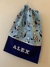 Child's Boys/Girls Personalised Library Book Bag/Kindy/Tote Bag - BLUEY -