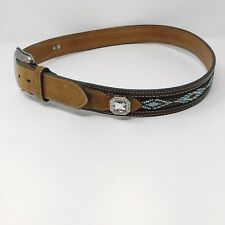 Nocona Leather & Beaded Belt With Crystyal Bling Conchos Sz 36 (Large)