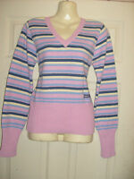 Ladies/girls pretty pink/Blue multi stripe jumper by ANIMAL, Size 8 10   S/M