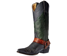 New in box Stetson Ladies Jade Fashion Snip Toe Cowgirl Boots Black/Green Size 7