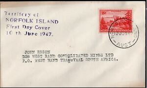 Norfolk Island 1947 FDC Definitive 2 1/2d to South Africa  Postal History