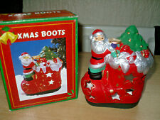 CHRISTMAS Ceramic SANTA BOOT TEALIGHT / CANDLE HOLDER - BNIB - Tea Light