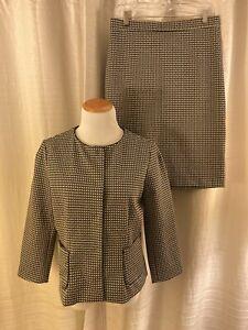 NWT! Ann Taylor 2 pc Black White Snap Front Blazer Pencil Skirt Suit $228 M