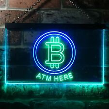 Bitcoin ATM Here Dual Color LED Neon Sign st6-i3371