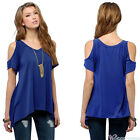 Summer Women Cold Shoulder Loose Tops Short Sleeve Lady Blouse T-Shirt Plus Size