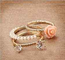 3 Pieces Rhinestone Rings Women Girls Gift Rose Flower Décor DIY Pearl Diamond