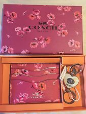 Coach Wildflower Card Case Heart Key Fob F66089 Dahlia Key Chain Luxe Accecories