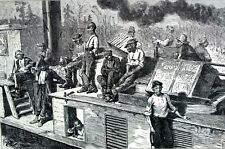 Timber Cutters 1873 Going in Swamp BLACK AMERICANA Matted Harper' Weekly Print