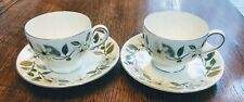 2 Wedgwood BEACONSFIELD Leigh Cup & Saucers 6505903 EXCELLENT multiple