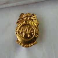 AAA Patrol Service Tie Tack Lapel Pin Triple A Auto Club Vtg Gold Color Metal