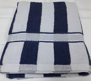 White  Navy Blue Stripe Large Sunbed Beach Towel Pool Towel 100% Cotton 90x150cm