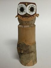 Japanese Owl Wood Carved Figurine Totem Hand Painted