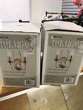 2 Boxes Brass Twin Wall Light Fittings 2 Boxes